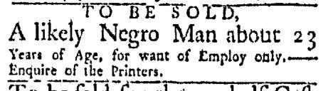 Aug 24 - Boston Evening-Post Slavery 1