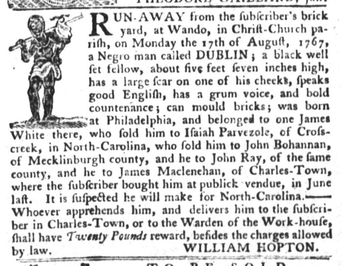 Aug 25 - South-Carolina Gazette and Country Journal Slavery 3
