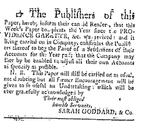 Aug 8 - 8:8:1767 Providence Gazette