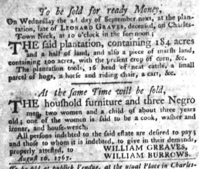 Sep 1 - South-Carolina Gazette and Country Journal Slavery 3