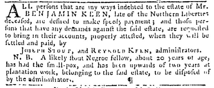 Sep 17 - Pennsylvania Gazette Slavery 1