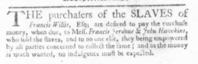 Sep 17 - Virginia Gazette Slavery 1