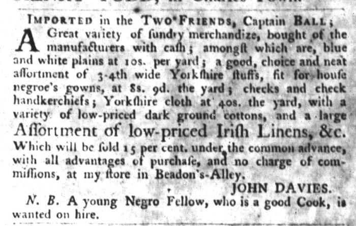 Sep 22 - South-Carolina Gazette and Country Journal Slavery 1