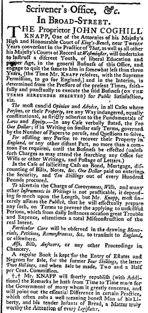 Sep 24 - New-York Gazette Weekly Post-Boy Slavery 1