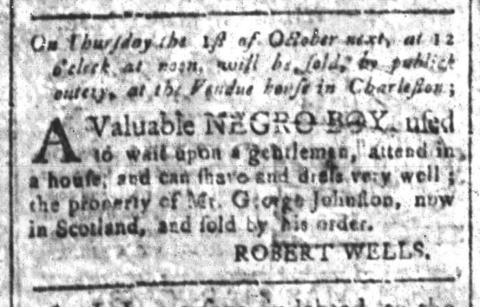 Sep 25 - South-Carolina and American General Gazette Slavery 2