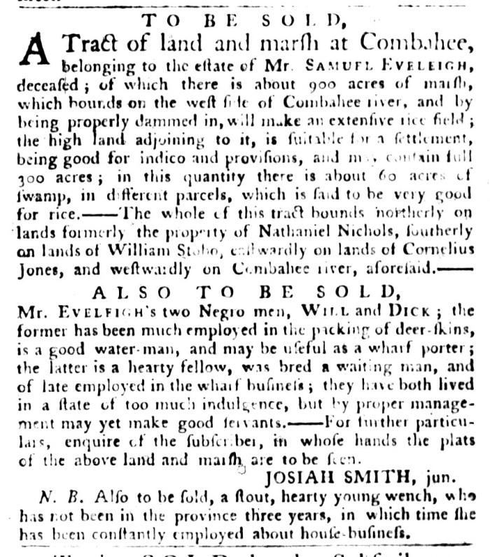 Sep 29 - South-Carolina Gazette and Country Journal Slavery 1