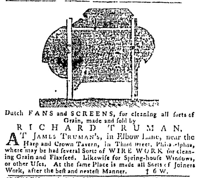 Sep 3 - 9:3:1767 Truman Advert Pennsylvania Gazette