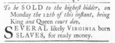 Oct 1 - Virginia Gazette Slavery 1