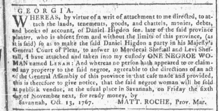Oct 14 - Georgia Gazette Slavery 1