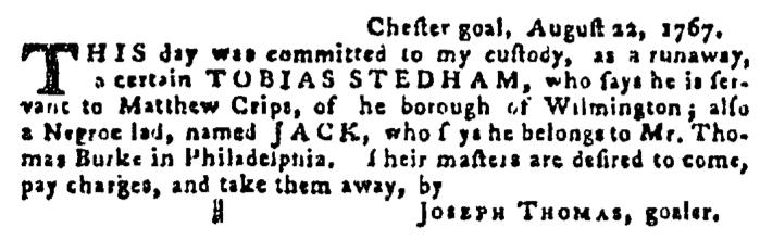 Sep 17 - Pennsylvania Gazette Supplement Slavery 4