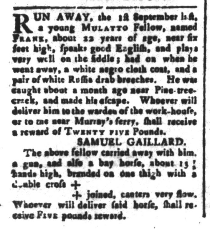 Nov 13 - South-Carolina and American General Gazette Slavery 1