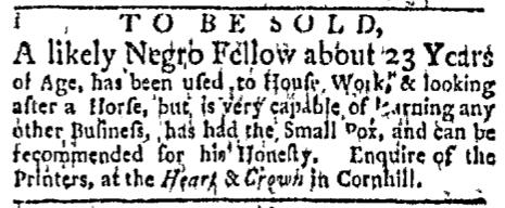 Nov 16 - Boston Evening-Post Slavery 1