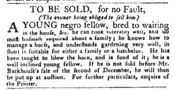 Nov 17 - South-Carolina Gazette and Country Journal Slavery 2