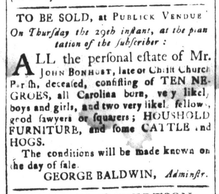 Oct 16 - South-Carolina and American General Gazette Slavery 6