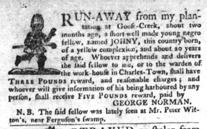 Oct 20 - South-Carolina Gazette and Country Journal Slavery 10