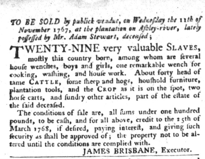 Oct 20 - South-Carolina Gazette and Country Journal Slavery 3