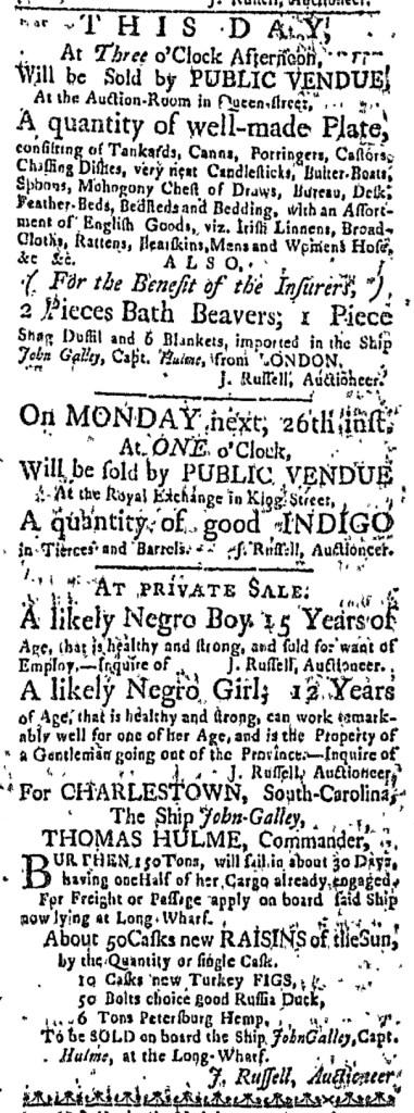 Oct 22 - Massachusetts Gazette Slavery 1