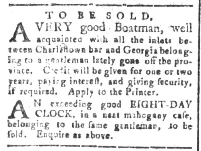 Oct 23 - South-Carolina and American General Gazette Slavery 2