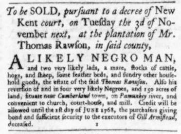 Oct 29 - Virginia Gazette Slavery 1