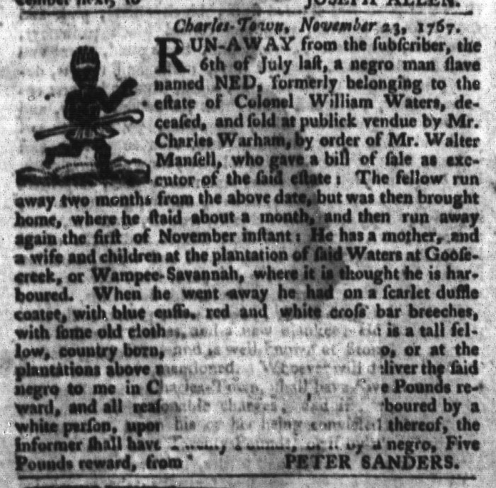Dec 1 - South-Carolina Gazette and Country Journal Slavery 7