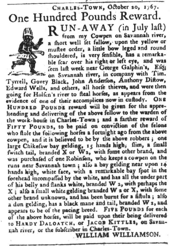 Dec 22 - South-Carolina Gazette and Country Journal Slavery 1