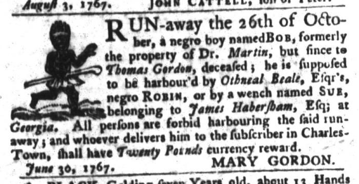 Dec 22 - South-Carolina Gazette and Country Journal Slavery 10