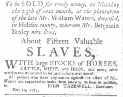 Dec 24 - Virginia Gazette P&D Slavery 1
