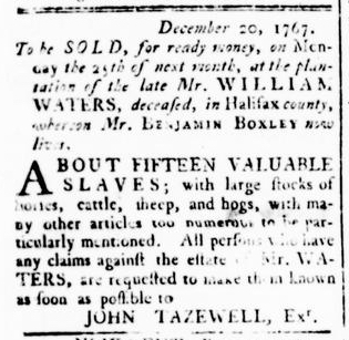 Dec 24 - Virginia Gazette Rind Slavery 1