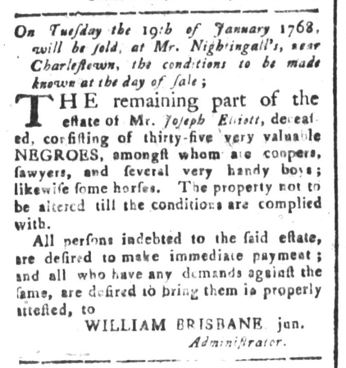Dec 25 - South-Carolina and American General Gazette Slavery 1