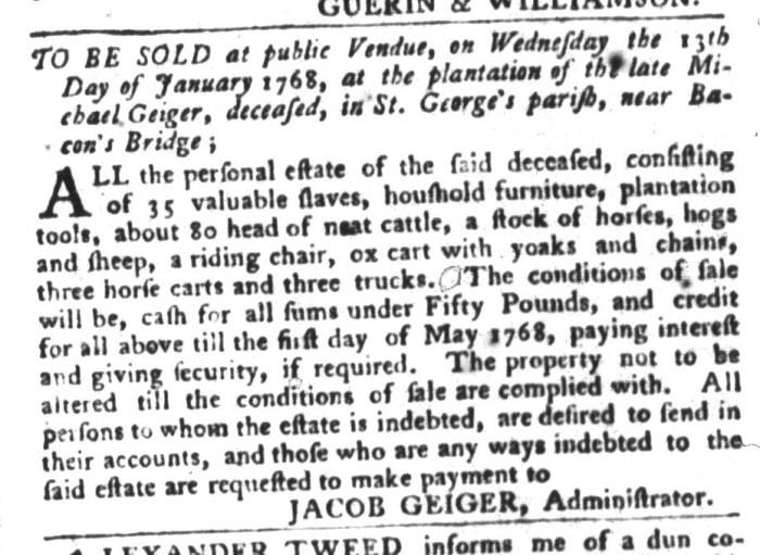 Dec 29 - South-Carolina Gazette and Country Journal Slavery 3