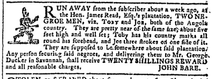 Dec 30 - Georgia Gazette Slavery 1