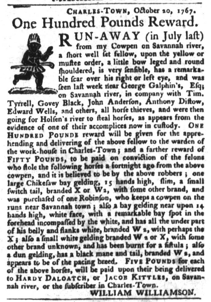 Dec 8 - South-Carolina Gazette and Country Journal Slavery 2