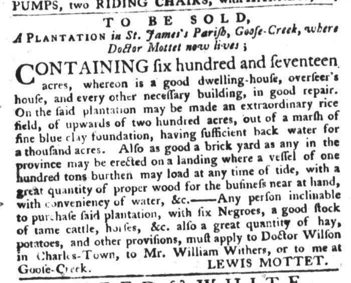 Dec 8 - South-Carolina Gazette and Country Journal Supplement Slavery 1