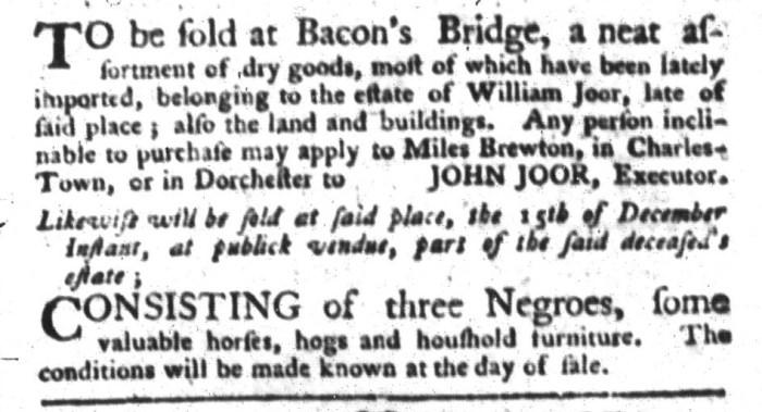 Dec 8 - South-Carolina Gazette and Country Journal Supplement Slavery 3