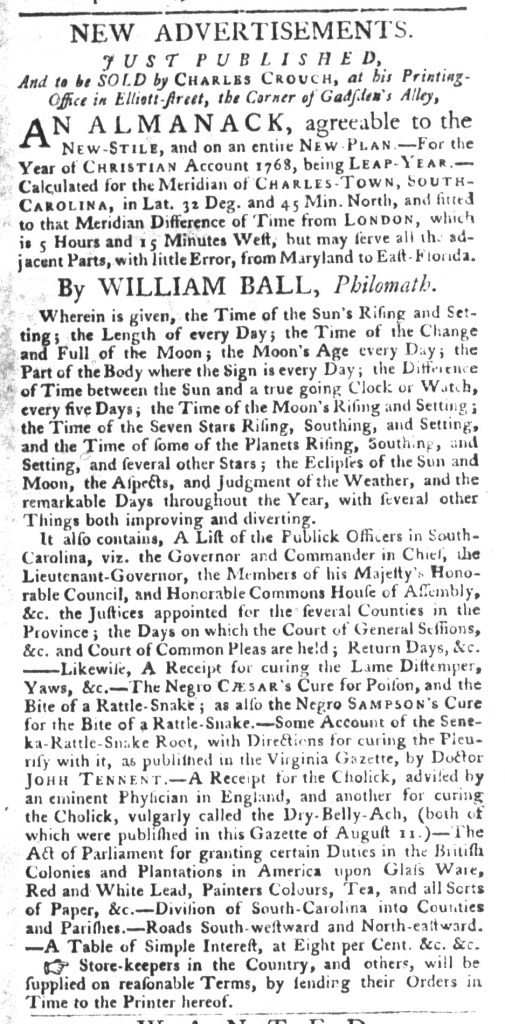 Nov 10 - South-Carolina Gazette and Country Journal Slavery 12