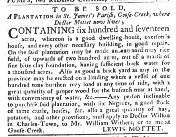 Nov 24 - South-Carolina Gazette and Country Journal Slavery 1