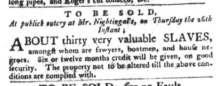 Nov 24 - South-Carolina Gazette and Country Journal Slavery 10