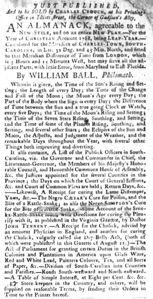 Nov 24 - South-Carolina Gazette and Country Journal Slavery 7