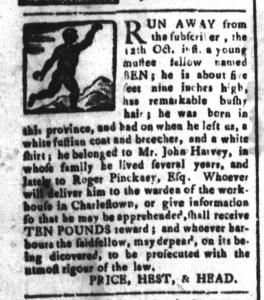 Nov 27 - South-Carolina and American General Gazette Slavery 2