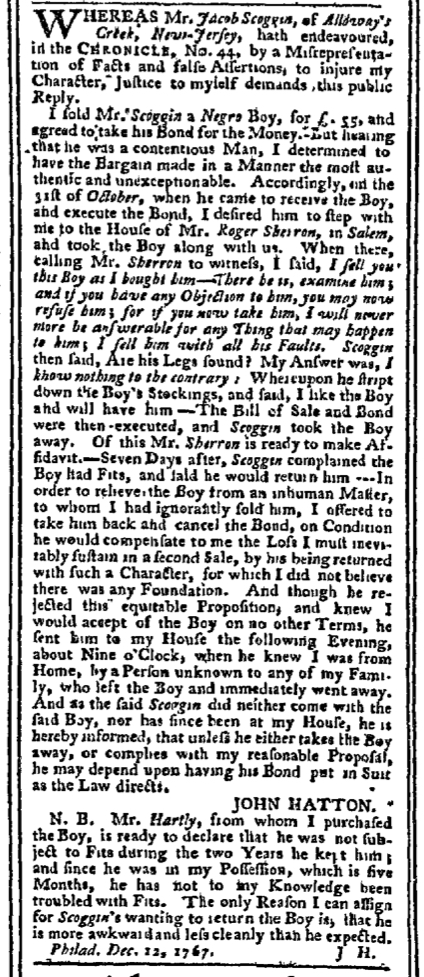 Dec 14 - Pennsylvania Chronicle Slavery 2