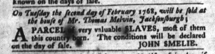Feb 2 - South-Carolina Gazette and Country Journal Slavery 8
