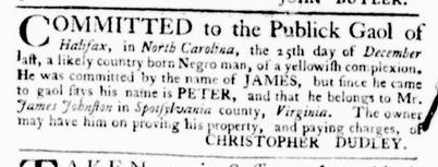 Feb 4 - Virginia Gazette Purdie and Dixon Slavery 3