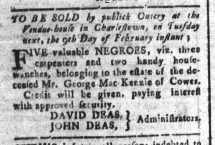 Feb 5 - South-Carolina and American General Gazette Slavery 6