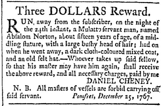 Feb 6 - Providence Gazette Slavery 1
