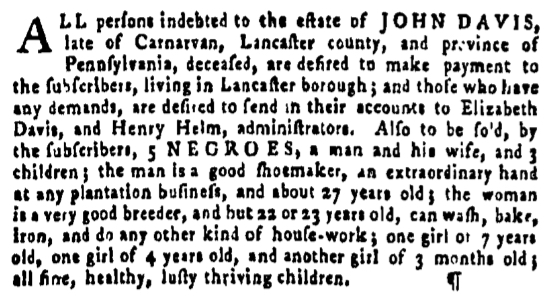 Jan 14 - Pennsylvania Gazette Supplement Slavery 1