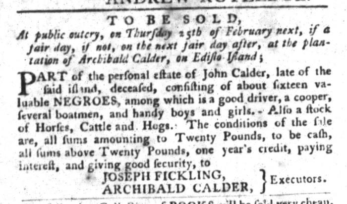 Jan 19 - South-Carolina Gazette and Country Journal Slavery 11