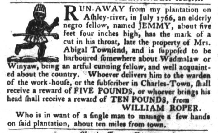 Jan 19 - South-Carolina Gazette and Country Journal Slavery 6