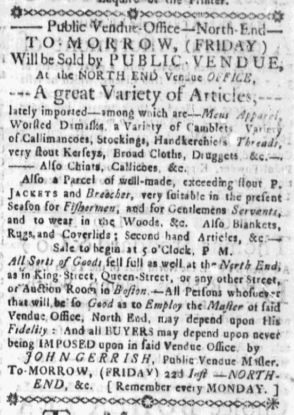 Jan 21 - 1:21:1768 Massachusetts Gazette