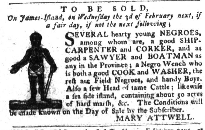 Jan 26 - South-Carolina Gazette and Country Journal Supplement Slavery 7