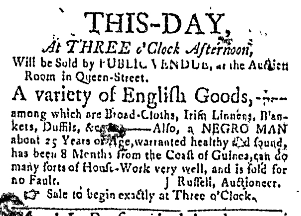 Jan 7 - Massachusetts Gazette Slavery 1